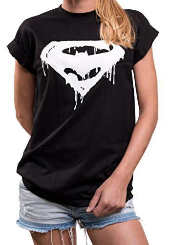 Comic Shirt für Damen - Hipster Damenshirt mit Superhelden Print locker lässig Superman Batman Joker M