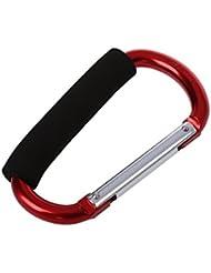 TOOGOO(R)Gancho de clip grande Mosqueton de aluminio Rojo con empunadura suave