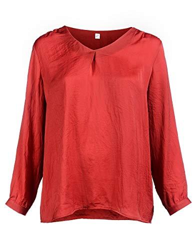 THEA by Adler Mode Damen Feminine Satin-Crepe-Bluse mit langem Arm Große Größen Mittelrot 58/60 - Adler Satin