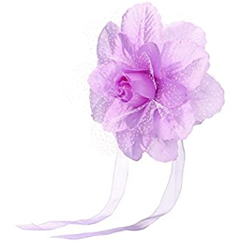 🌴Jimmkey Best Peony Flower Curtain Clip-on Tie Backs Holdback Tieback Holder Panel,Curtain Track Glider Hooks With Sturdy Grip,Clip-On Flower Tie Backs / Holdbacks Available For Voile & Net Curtain Panels (Purple, Strap length: 50cm)