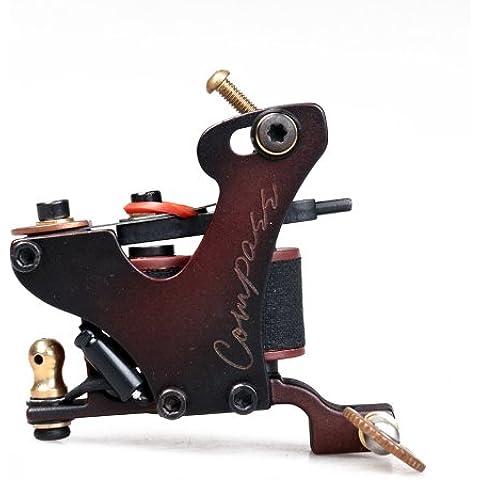 Compass Tattoo Machine Gun Plata Liner 8 Wraps Steel Frame Copper Coils WQ2071-1