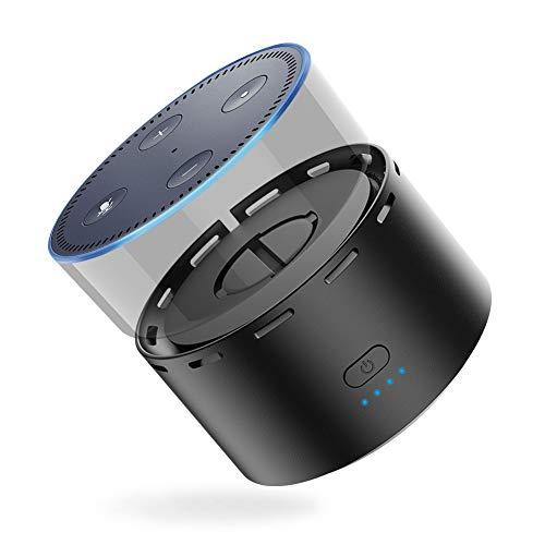 UGREEN Akku für Echo Dot 2, 10000 mAh Powerbank für Echo dot 2 Batteriestation als Dot 2 Zubehör Ladestation mit integriertem Micro USB Ladekabel, Schwarz