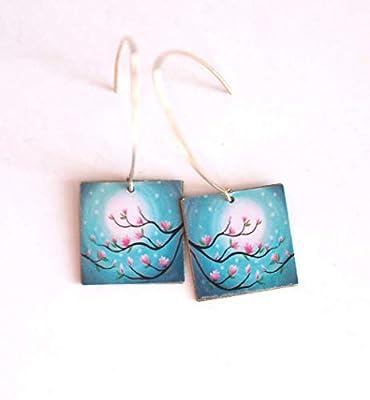 Boucles d'oreilles, pendants, fantaisie, magnolias rose et bleu, bronze, fait mains
