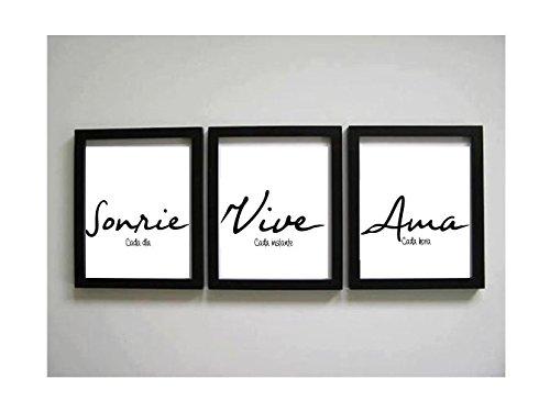 Triptico de Cuadros impresos con frase motivadora Sonríe, Vive, Ama Elige tamaño y color del marco.