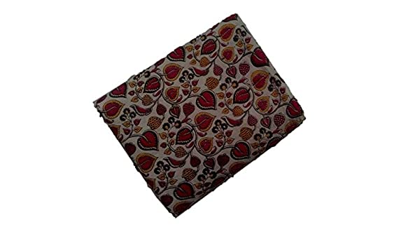 ef217f0a0dceb Perennial Women Cotton Kalamkari Blouse piece 100cms Florals Beige Base   Amazon.in  Clothing   Accessories