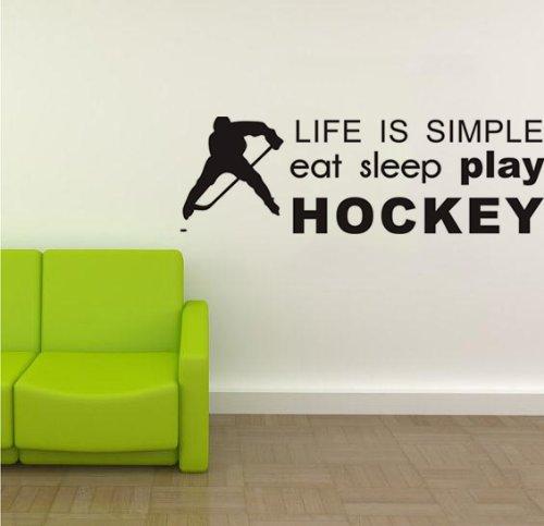 Hockey Buchstaben (EAT SLEEP PLAY HOCKEY Wand Zitat Aufkleber Art Buchstabe Decor Jungen Raum Wand Decor Home Wandbild Decor Schwarz Vinyl sagen Aufkleber, plastik, schwarz, 80x26cm)
