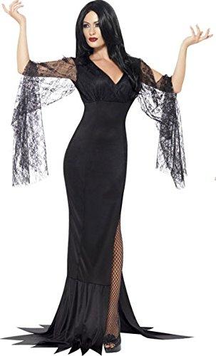 Costume di halloween da donna, travestimento a figura intera da strega maligna sexy, in pizzo