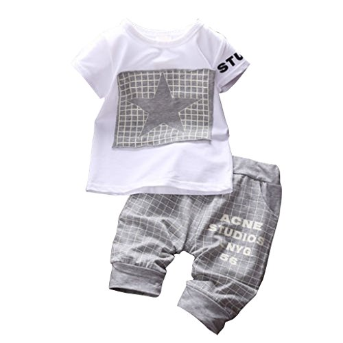 WangsAura, completino sportivo per bambino in 2 pezzi Star, pantaloni e maglietta Gray 0-6 (3 Pezzi Bambino Outfit)