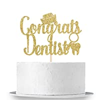 Congrats Dentist Cake Topper - Gold Glitter Congrats Doctor 2020 Grad, Medical Doctor Dentist Graduation Party Cake Decorations Supplies