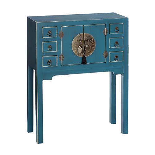 Lola Home Konsolentisch mit 6 Schubladen und 2 Türen, Orientalisches Design, aus Holz, für den Eingang, Sonneneinstrahlung, Sperrholz, Breite: 63 cm Höhe: 80 cm Tiefe: 26 cm