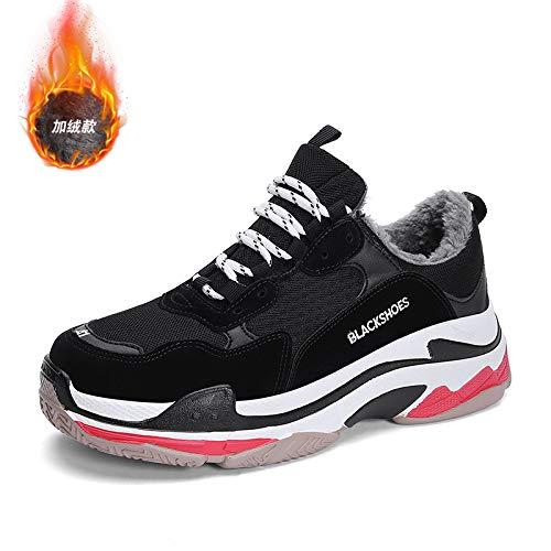 Na-Zh Scarpe da Tennis da Uomo Scarpe Casual Trendy Super Fuoco Inverno Vecchie Scarpe Calde,Bianco E Nero Rosso, 43