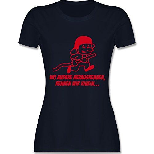 Feuerwehr - Feuerwehr - Wo andere herrausrennen - tailliertes Premium T-Shirt mit Rundhalsausschnitt für Damen Navy Blau
