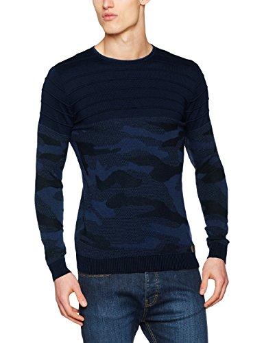 ReRock Herren Pullover Camouflage Blau (Dunkel Blau 003)