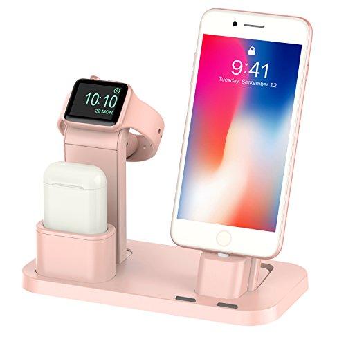 beacoo Apple Watch Stand Apple Reloj Soporte de carga Airpods Docks de carga soporte soporte para Apple reloj serie 3/2/1/Airpods/iPhone X/8/8plus/7/7Plus/6S/6S Plus/iPad