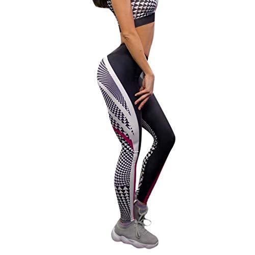 WOZOW Damen Leggings Gamaschen Solid Patchwork Streifen Gestreift Stripe Geometrisch Pattern Print Druck Dünn Skinny Stretch High Waist Slim Lang Long Sport Hose Yoga Stoffhose (XL,Schwarz)