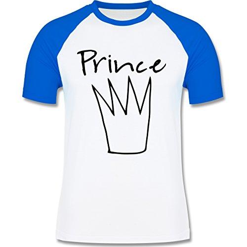Statement Shirts - Prince Krone - zweifarbiges Baseballshirt für Männer Weiß/Royalblau
