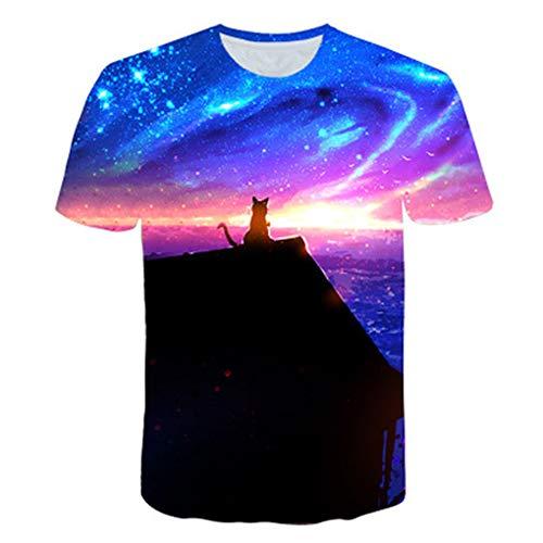 T-Shirts für Herren Herren T-Shirt 3D Print Tier Katze Lässig Kurzarm-11 XL (Bonnie Tier Jean)