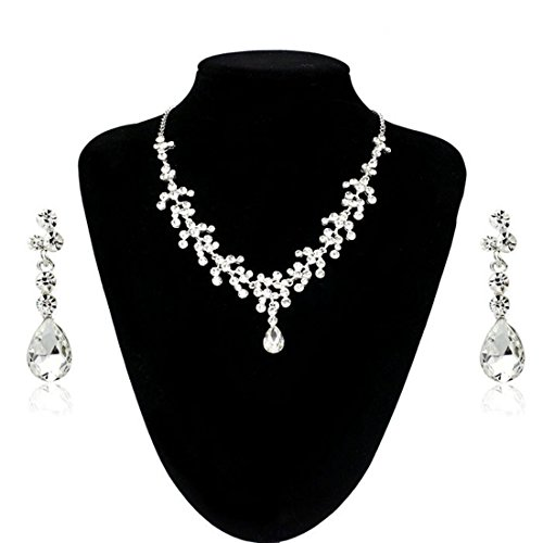 Malloom® Charm Wedding Bridal Rhinestone Crystal Necklace Earring Jewelry Set