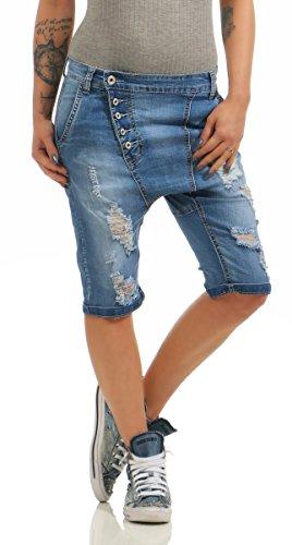 6010 Fashion4Young Damen Jeans Bermuda Denim Shorts kurze Hose Stretch Destroyed Baggy (blau, XL-42)