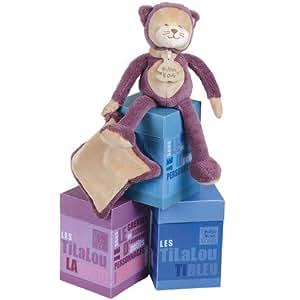 Histoire d'Ours - Peluches et Doudous - Peluche Chat violet mauve et son doudou mouchoir - Pantin bébé collection : Tilalou - Taille : 25 cm - Coffret boîte cadeau