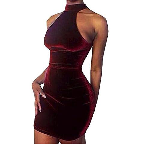 COCO clothing 2017 Sexy Frauen Turtleneck Kleider Ärmellos Bodycon Mantel Halfter Abendkleid Mini Kleid (M, Dunkel violett)