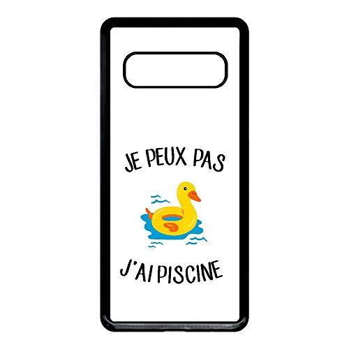 Générique Coque Samsung Galaxy s10 Je Peux Pas j AI Piscine bouee Canard Fond Blanc