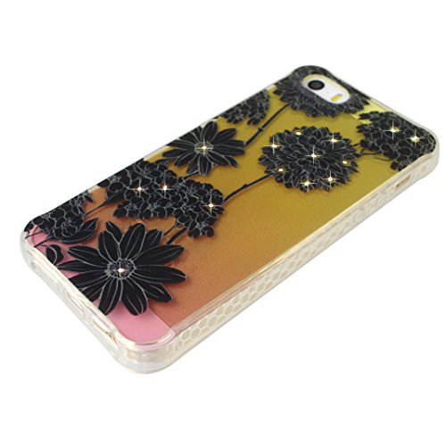 Coque iPhone 5 5S, Étui pour iPhone SE Case, Moon mood® Housse iPhone 5 Silicone Coque Étui Téléphone Couverture TPU Clair éclat Bling Brillant Glitter Diamant Strass avec Fleur Motif Ultra Mince Flex Style-6