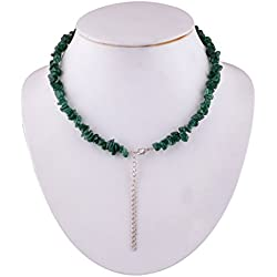 "Silver Prince 30 grm Green Jade Gemstone Necklace Size: 16"" Inch"