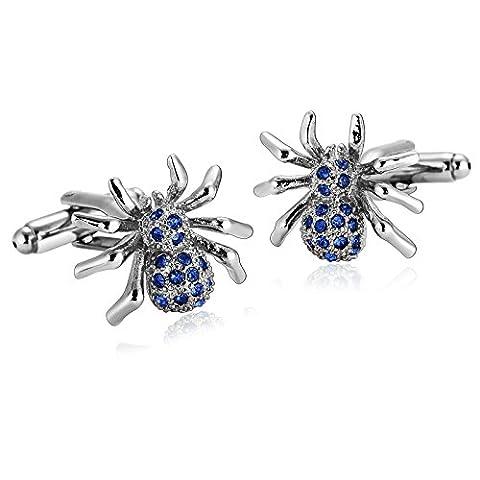 Anazoz Boutons de Manchette Homme Argent Bleu Classique Spider Animal Cristal Bijoux Fantaisie Commerce Cadeau Anniversaire