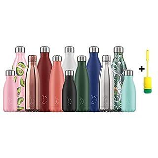 Chillys Flaschen Bottle | 100% Dicht | Edelstahl ohne BPA | Wiederverwendbare Wasserflasche | Doppelte Vakuumwand | hält 24 Stunden kalt - 12 Stunden heiß + Flaschenbürste (750ml, Burnt Yellow)
