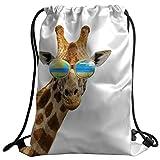 Violetpos Mode Brauch Unisex Turnbeutel Rucksack Sportbeutel Gym Bag Lustige Giraffe die Sonnenbrille Tier Brown trägt Klein