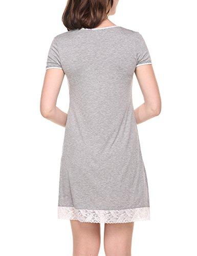 hotouch Donna Manica Corta Camicia Da Notte Biancheria Da Notte Con nobile pizzo ornamento notte vestito di cotone a Line Typ1-Hell grau