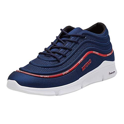 iHENGH Scarpa Ginnastica Pu Sport Pantofola Francesina Moda Casual Estate Rete Shoes Men Outdoor Lace-Up Breathable Respirante Sneakers Scarpe Uomo Pigire Running(Blu,43)
