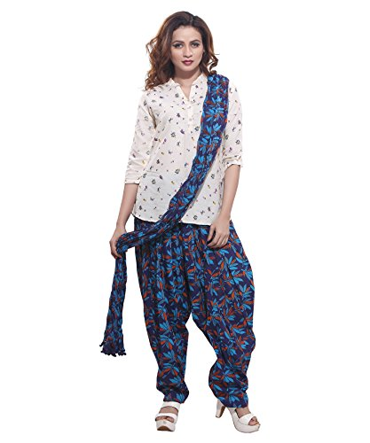 Jublee Women\'s Printed Blue Cotton Patiala with Dupatta Set