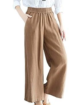 BoBoLily Pantalon Mujer Elegantes Primavera Otoño Elastisch Bund Color Sólido Pantalon Anchos Largos Casuales...