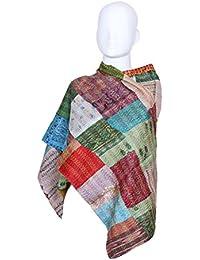Indistar Vintage Silk Hand Quilted Kantha Hand Work Dupattas Reversible Scarves Scarf Patchwork Multicolor(80200... - B0767KZT81