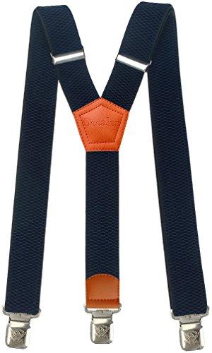 Hosenträger für Herren breit extra starken 4 cm mit 3er Clips Y-Form Lange für Männer und Damen Hose (Marineblau 2)