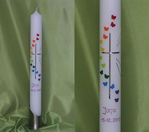 Taufkerze / Kommunionkerze in 40 x 4 cm, inklusive Beschriftung und Aufbewahrungskarton ! P 70