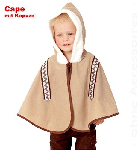 narrenwelt Eskimo Cape 86 mit Kapuze Umhang Baby - Eskimo Kostüm Kleinkind