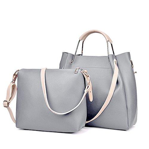 Groß PU Leder Handtaschen Damen Henkeltaschen Cross Body Umhängetaschen Schultertaschen  Taschen Set für Frauen Mädchen - Grau