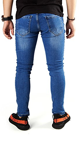 FiveSix Herren Slim-Fit Used-Look Denim Destroyed-Look Zerrissen Löcher Bikerjeans Reißverschluss Skinny Jeans Hose mit Stretch Blau