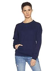 United Colors of Benetton Womens Sweatshirt (17A3TX1E1080I_Peacock Blue_S)