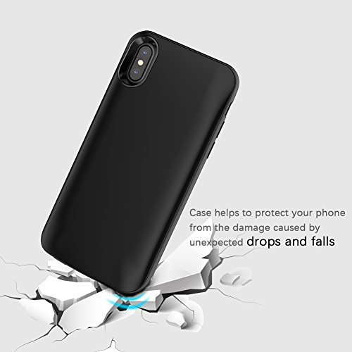 iPhone X Custodia Batteria, FugouSell iPhone 10 Slim Battery Esterno Case Cover 3600mAh Portatile Rechargeable Power Batteria Backup Caricabatterie Telefono Accessori Nero Nero
