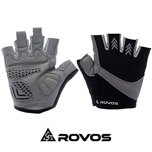 ROVOS Fahrradhandschuhe für Herren und Damen, halbe Finger, atmungsaktiv, Mountainsport, Herren, schwarz, Small -