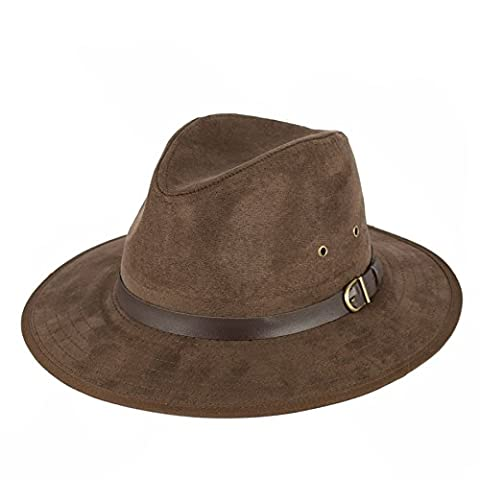 Men's Ladies Plain Faux Suede Fedora Hat With Faux Leather Band 100% Polyester, Brown, (57/M)