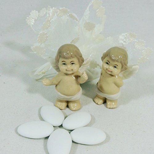 Sindy bomboniere 24 angeli in porcellana con 24 sacchetti in organza con confetti crispo ap