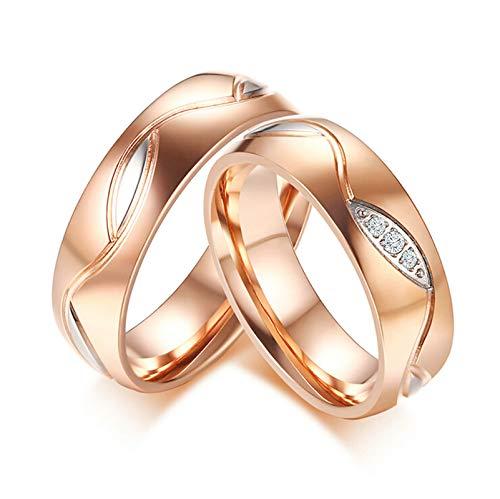 Amody 1 Paar Sein und Ihr Ring Paare passenden Ring Edelstahl Ehering Rose Gold Zirkonia 6MM hochglanzpoliert Ringe Frauen 54 (17.2) & Männer 65 (20.7) (Paare Batman Für Ringe)
