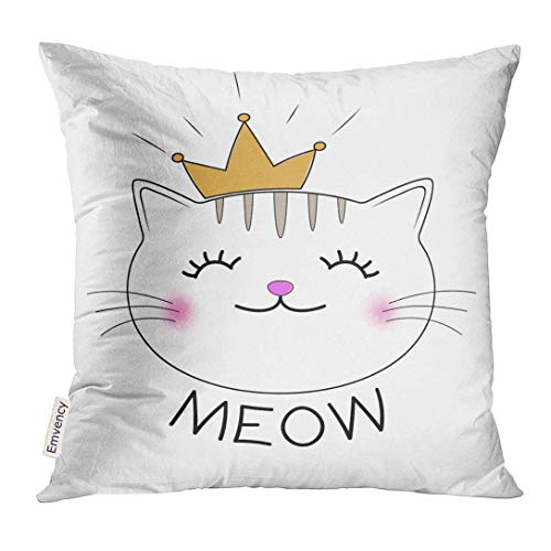 Throw Pillow Cover Face Cute Kitty Silhouette Head of Cat with Lettering Word Meow Design Animal Decorative Pillow Case Home Decor Square 18x18 Inches Pillowcase