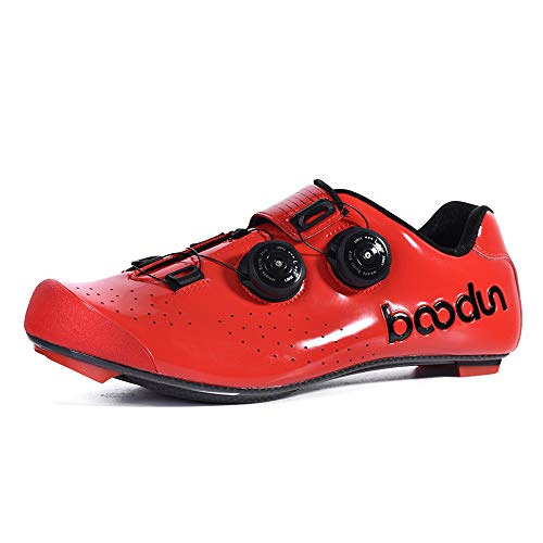 Lixada Scarpe da CiclismoUltraleggero Traspirante Fibra di Carbonio, Scarpe da Bici da CorsaChiusura Automatica per Uomo Dimensione: 41-44