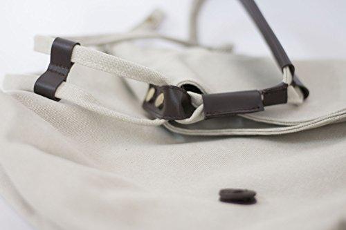 FunYoung Vintage Schultertasche Unisex Umhänge Tasche Canvas Einkaufstasche Mesenger Bag Farbwahl (Blau) Beige